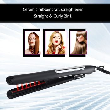 LED Display Infrared Wide Plate Ceramic Tourmaline Hair Straightener Iron Anions Flat Iron 110-240V Less Damaged Clectric Splint