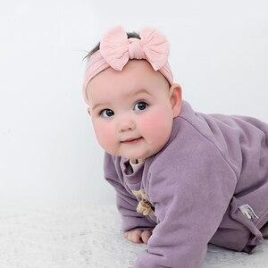 Image 2 - 100 pcs/lot, Großhandel Kabel Stricken Nylon Bogen Headwraps, Klassische Knoten breite nylon stirnbänder, kinder Mädchen Haar Zubehör