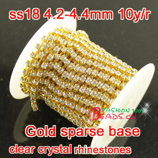newly 10yard roll ss18 clear Glass Rhinestone Chain Trimming Sew On gold  casting Trimming Strass Crystal Cup Chains diy Dress df07e592610c