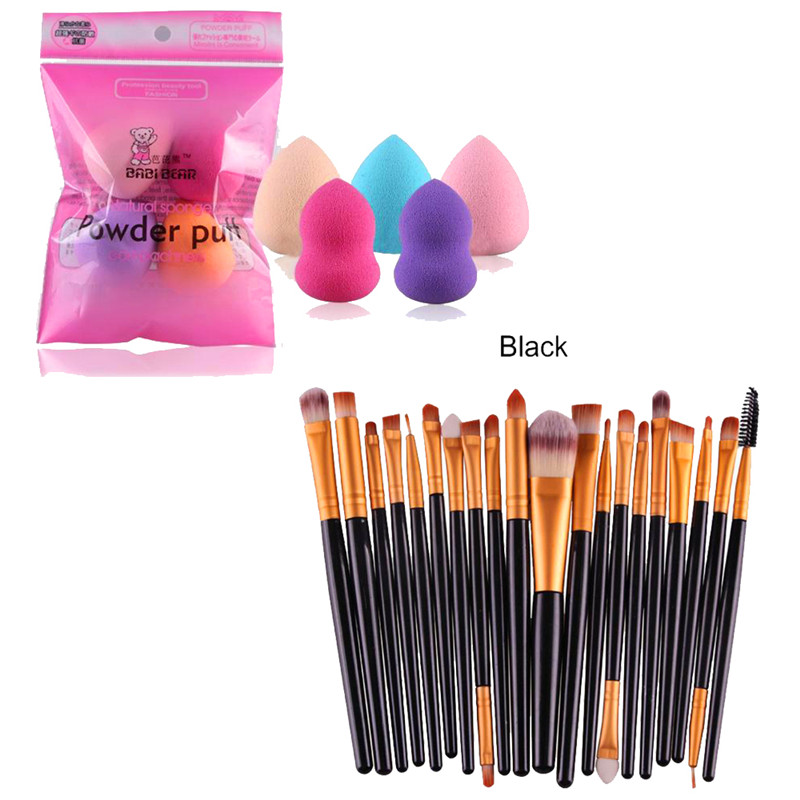 20pcs/set Makeup Brush Set tools Make-up Toiletry Kit Wool Make Up Brush Set+5PCS Makeup Blender Foundation Puff Shape Sponges