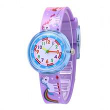 Girls' Cartoon Purple Unicorn Patterned Watch