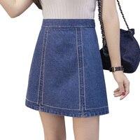 2017 New Summer Style Women Casual A Line High Waist Denim Skirts Short Vintage Woman Cowgirl