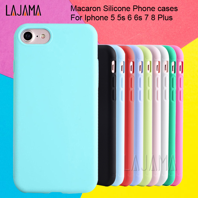 цена на For Iphone 6s case For Iphone 6 Macaron Phone Bag Cases Silicone Case for Iphone 5 5s se 6 6s 7 8 Plus Case Cover for Iphone 6