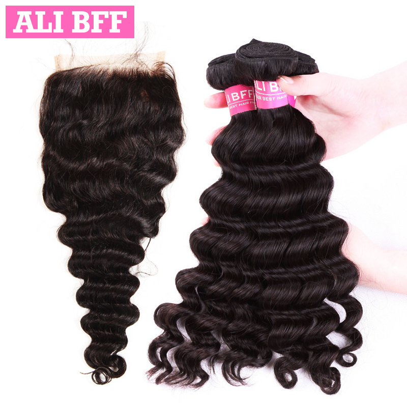 ALI BFF Hair Brazilian Loose Wave 3/4 Bundles Human Hair With Lace Closure 4*4 Free Part Natural Color Free Shipping Remy Hair
