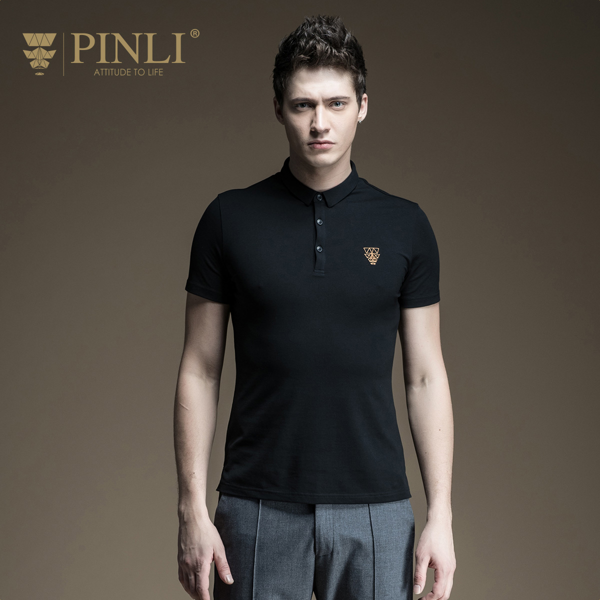 Men Top Fashion Pinli Product 2017 New Summer Men's Clothing Embroidery Short Sleeved Polo Shirt Male B172112187