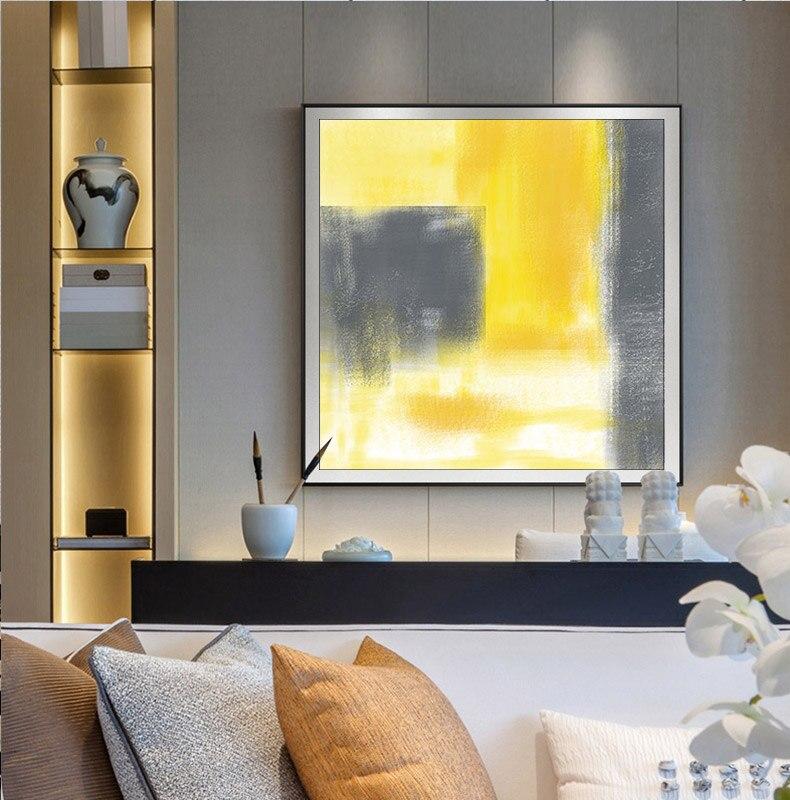 Abstrait Simple Jaune Et Gris Bloc Toile Peinture Affiche De Mode Et