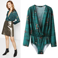 Women Long Sleeve Sexy Deep V Neck One Piece Bodysuits Vintage Floral Print Jumpsuit Dark Green Bodysuit
