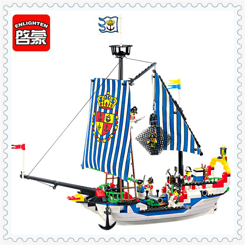 ENLIGHTEN 305 Caribbean Pirate Royal War Ship Model Building Block Compatible Legoe 310Pcs   Toys For Children 590pcs enlighten pirate series toys pirate ship weapons assembling building block bricks set compatible with lepin friends