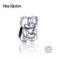 FirstQueen Pure Silver 925 Baby Girl Charms Beads Fits European Berloque Bracelet Silver 925 Original Fine Jewelry