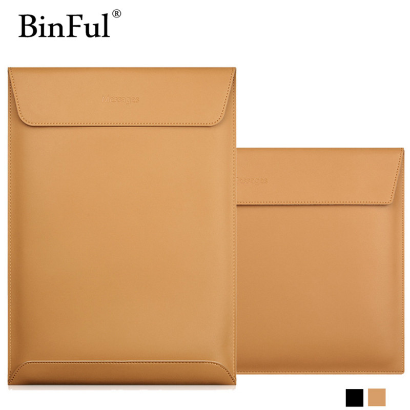 BinFul For MacBook Air 11 12 13 15 inch Laptop Vacuum Bag Genuine Leather Case Sleeve Notebook Ultrabook Carry Bag Case Pouch