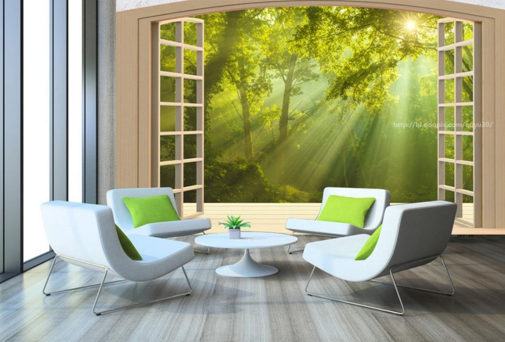 Custom 3D Large Mural Wallpaper Window balcony Forest landscape papel de parede 3d paisagem Wall paper Background new large wallpaper custom wallpaper yellow roses mural wall paper papel de parede wall stickers free shipping8598 papeles pinta