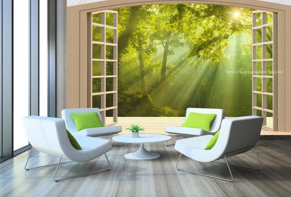 Custom 3D Large Mural Wallpaper Window Balcony Forest Landscape Papel De Parede 3d Paisagem Wall Paper Background