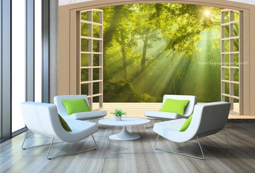 Personnalisé 3D grand papier peint Mural fenêtre balcon forêt paysage papel de parede 3d paisagem papier peint fond