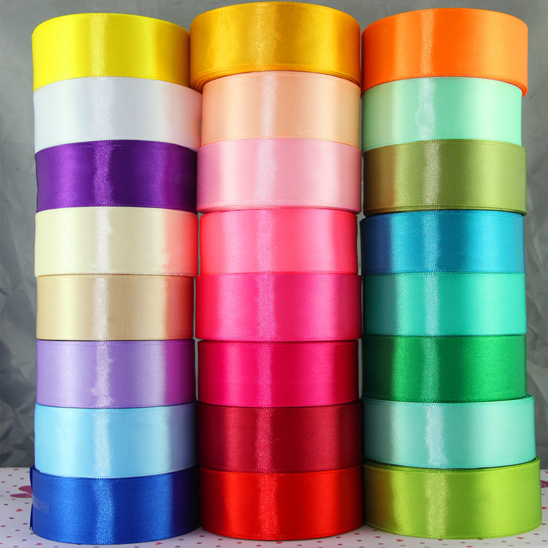 1 Roll / 25 meter Flerfarget Silke Satin Ribbon Wedding DIY - Kunst, håndverk og sying