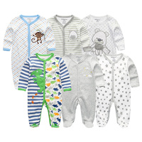 6Pcs Set Newborn Baby Clothes Girls Rompers 2018 Summer Boys Jumpsuit Costume Long Sleeve 100 Cotton