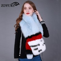 ZDFURS * 2017 New brand Natural Fox big Real Fur Collar Scarf Genuine fox fur Scarves Warp Shawl Neck Warmer cape Stole Muffler