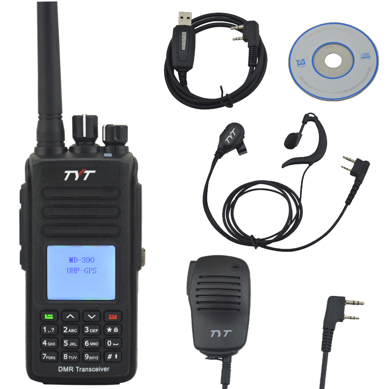 TYT Walkie Talkie MD 390 UHF+GPS DMR IP67 Waterproof Two way Radio w/Free Hand Microphone,Programming Cable and Earpiece