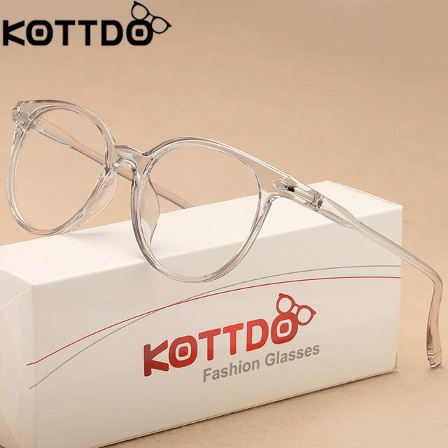 beb409465 KOTTDO Forma Transparente Óculos de Armações de Óculos Óptica Para As  Mulheres Olho de Gato Óculos