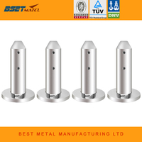 Mirror Polish 4 Pieces/Lot Duplex 2205 stainless steel glass pool fencing spigots for glass garden balustrade handrail staires