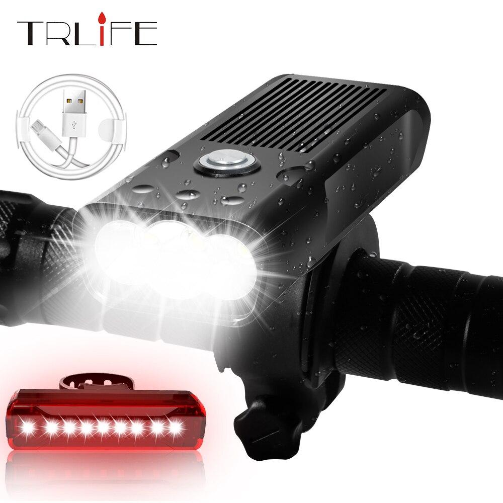 Intégré 5200mAh vélo lumière L2/T6 USB Rechargeable batterie externe 20000Lm 3Modes vélo lumière étanche phare vélo accessoires