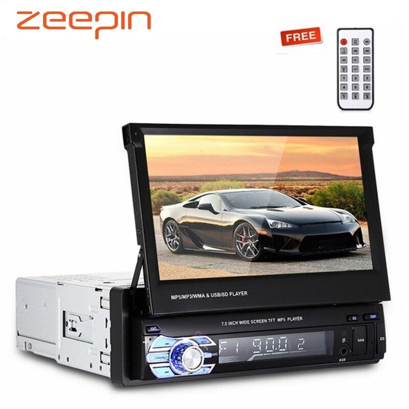7 дюймов TFT ЖК-экран автомобиля MP5 плееры Bluetooth FM радио автомобильный мультимедийный плеер выдвижной Авто Радио пульт дистанционного управле...
