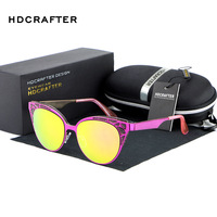 2017 HDCRAFTER TOP Quality Butterfly Sunglasses Women Alloy Cateye Sun Glasses Female Mirror Eyewear With Case
