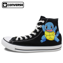 Girls Boys Anime Converse All Srar Pokemon Go Turtles Design Hand Painted Shoes Man Woman High Top Sneakers Men Women Shoes
