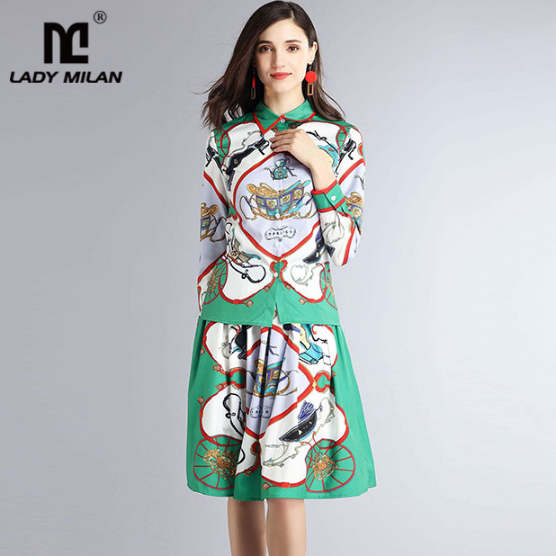 Lady Milan 2018 Womens Turn Down Collar Long Sleeves Printed Shirts with Floral Skirts Fashion Two Piece Dresses Sets