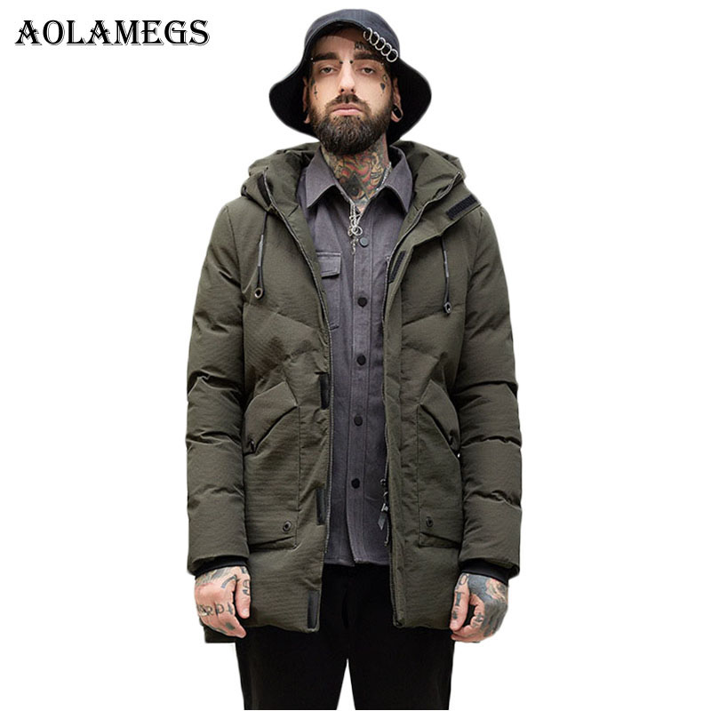 Aolamegs Winter Jacket Men Solid Thick Big Pocket Mens Parkas Down Jacket Loose Fashion Casual Windproof