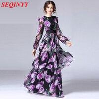 Elegant Dress 2017 Fashion Runway Slim Full Sleeve Long Purple Tulip Flowers Print Beautiful Women S