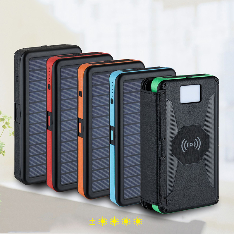 Outdoor Portable Folding Foldable Waterproof <font><b>Solar</b></font> Panel Charger Qi Wireless Charger <font><b>20000mAh</b></font> <font><b>Solar</b></font> <font><b>Power</b></font> <font><b>Bank</b></font> with LED Light image