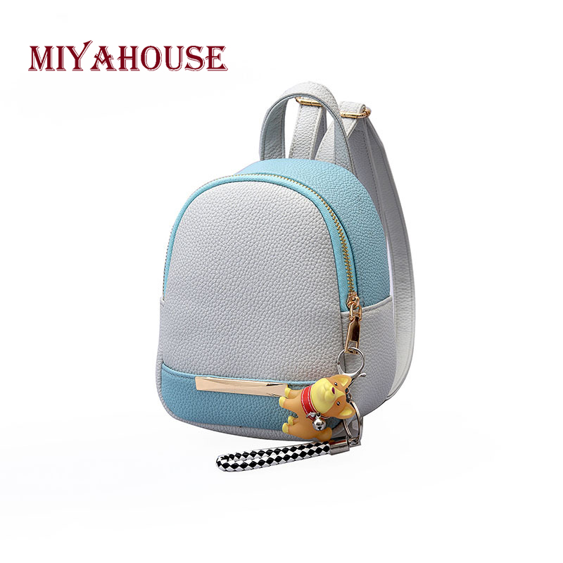 Miyahouse Female Pu Leather Casual Backpack Mini Shoulder Backpacks Hit Color Travel Rucksack For Women Small Backpack #5