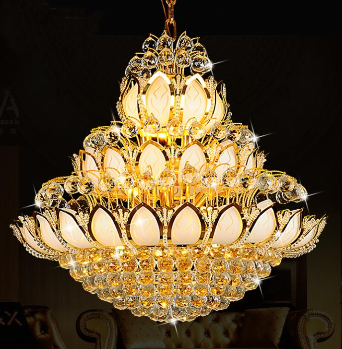European Crystal Pendant Lights Lamp round the living room dining room air villa hotel lamp Lotus Temple re stairs LU71111 YM private villa living room chair retail
