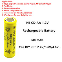 DIY AA NI-CD Rechargeable Battery 1.2V 600mAh Can be used in electric toys Alarm clock Remote control