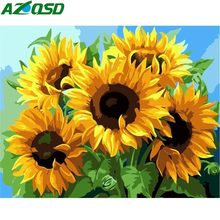 AZQSD DIY Painting By Numbers Kits Sunflowers Abstract Modern Home Wall Art Picture Flowers Paint By Numbers SZGD126(China)