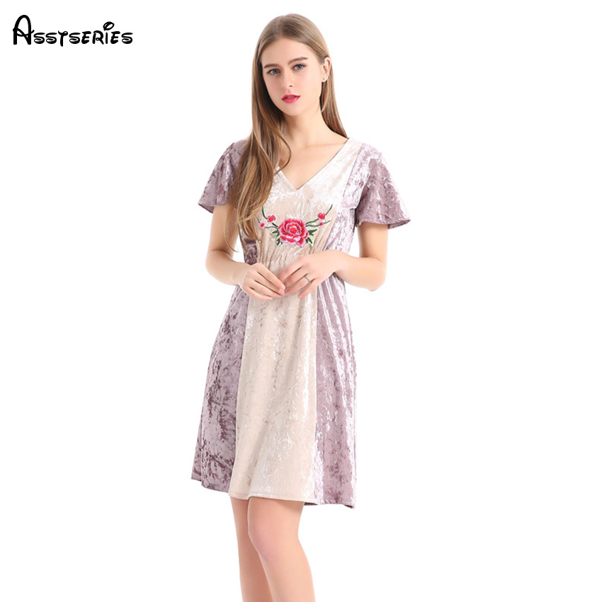 2018 Spring And Summer European And American New V Neck Women Dress Collar Stitching Velvet Dresses A Word Dress Cloth D39