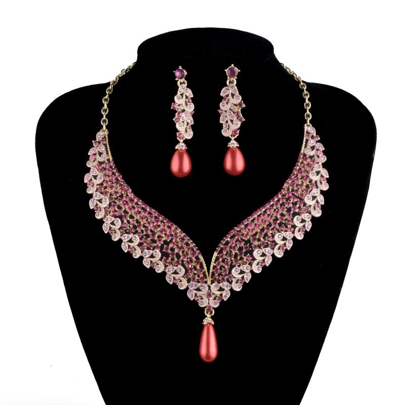 India Style Bridal Wedding Necklace Earrings Set Pink