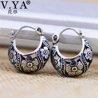 V YA 2018 Vintage Flower Hoop Earrings 925 Sterling Silver Earrings Brincos Women Mother Day Gift