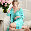 2017 Spring Summer High Quality Silk Robe Women 2 Pieces Set Sexy Lace V-neck Silk Pajama Sets Bathrobe Dress Pajamas For Women