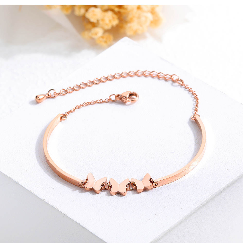 Coreano moda temperamento jóias de borboleta do aço inoxidável Titanium aço Pulseira senhora menina mel nobre acessórios - 2