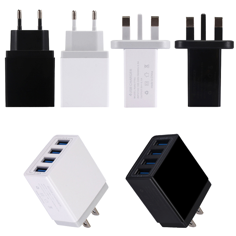 4 Port USB Charger Fast 5.1A Phone UK US EU for Samsung LG Xiaomi Huawei Travel Quick Charging Adapters