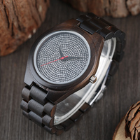 Mens Creative Full Wooden Watch Bamboo Bangle Quartz Nature Wood Creative Casual Fold Clasp Simple Sport