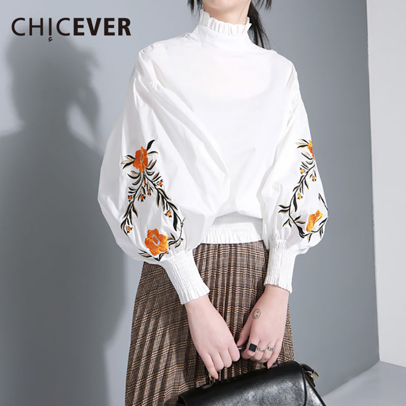 CHICEVER Embroidery Floral Female T shirts For Women Top Lantern Long Sleeve Women Tshirt Tops Ruffle Korean Big Size Clothes