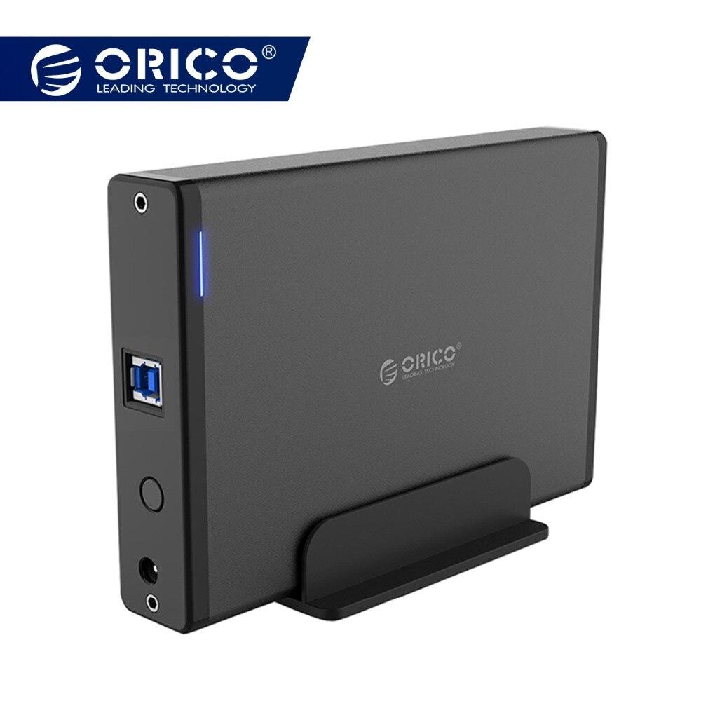 ORICO de aluminio HDD Disco Duro carcasa USB3.0 a SATA3.0 3,5 pulgadas caso HDD estación de acoplamiento soporte UASP 12V2A de