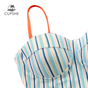 Image 3 - Cupshe maiô listrado azul e laranja feminino, roupa de banho de uma peça para mulheres arco de amarrar, copo moldado ajustável, monokini 2020 roupa de banho sexy