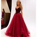 O Envio gratuito de 2016 Borgonha Off The Shoulder Dresses Prom vestido de Baile V-Neack Vestido Para A Graduação Ocasião Especial