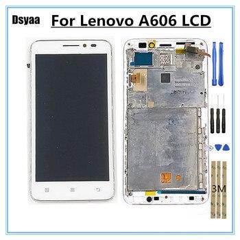 จอ LCD สำหรับ Lenovo A606 จอแสดงผล LCD หน้าจอสัมผัส Digitizer แผงกระจกกรอบ