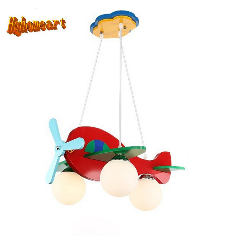 HGhomeart Baby Room Cartoon Led Pendant Lights Glass E27 LED Lamp 110-220v Acrylic Aircraft Suspension Pendant Light Wood hghomeart kids led pendant lights basketball academy lights cartoon children s room bedroom lamps lighting