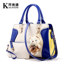 KLY 100% Genuine leather Women handbags 2016 New tide bag color smile package bear Crossbody Shoulder Handbag