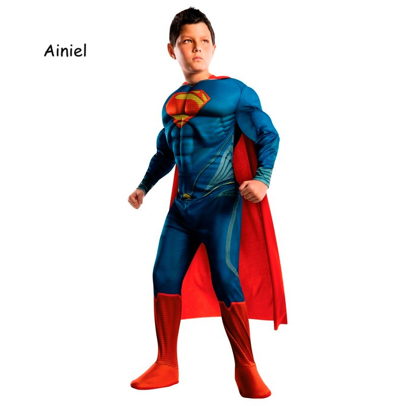 Halloween Children Muscle Superman Cosplay Costume Muscle Super Hero Jumpsuit with Cape for Kids Boys Super man muscle Costumes